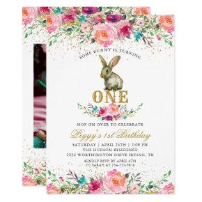 Beautiful Pink Floral Bunny 1st Birthday Photo Invitation