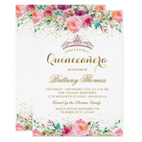Watercolor quinceanera birthday invitations candied clouds beautiful pink floral quinceanera 15th birthday card bookmarktalkfo Gallery