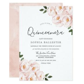 Beautiful Soft Blush Pink Flowers Quinceanera Invitation