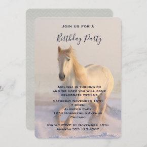 Beautiful White Horse Running in the Snow Birthday Invitation
