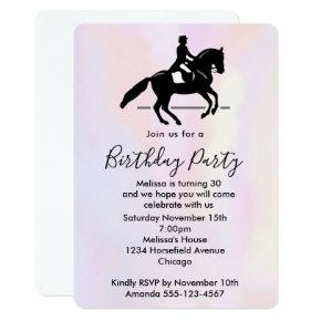 Beautiful White Horse Running in the Snow Birthday Invitation