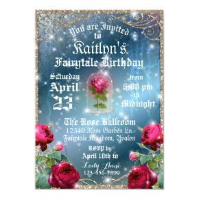 Beauty and the Beast Red Rose Enchanted Birthday Invitation