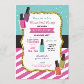 Beauty Spa Birthday Party Pamper Mani Pedi Invite