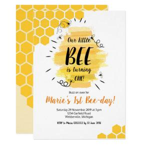 Bee 1st Birthday Party Invitation