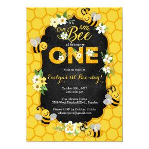 Bee 1st Birthday Party Invitations - Bee Birthday