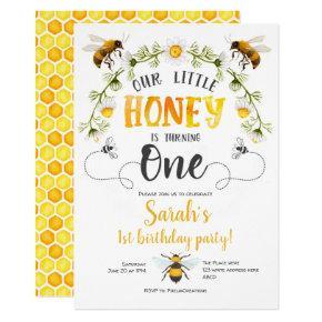 Bee, Bumble bee, Little Bee, 1st birthday Invitation