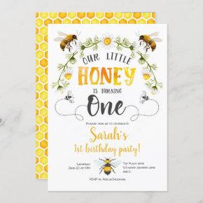 Bee, Bumble bee, Little Bee, 1st birthday Invitation