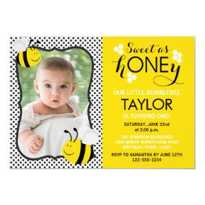 Bee Photo First Birthday Invitation