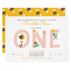 Bee Yellow & Pink Floral ONE Baby's 1st Birthday Invitation
