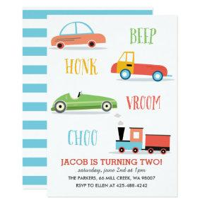 Beep Honk Chooo Kid's birthday party Invitations