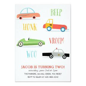 Beep Honk Woo Kid's birthday party Invitations