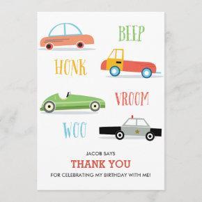 Beep Honk Woo Kid's birthday thank you