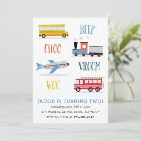 Beep Vroom Woo Airplane Kid's birthday party Invitation