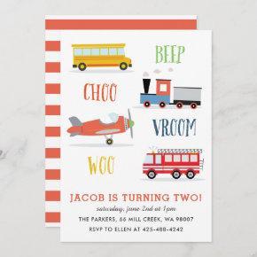 Beep Vroom Woo Kid's birthday party Red Invitation