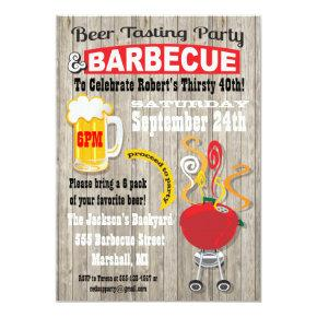 Beer Tasting and Barbecue Party Invitations