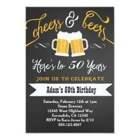 Beers and Cheers Birthday Invitations 30th 40th etc