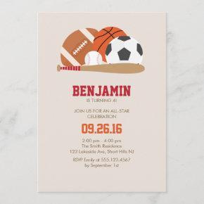 Beige All Star Sports Birthday Party Invitation