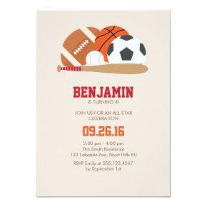 Beige All Star Sports Birthday Party Invitation