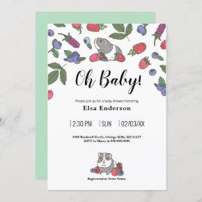 Berries and Guinea pig Pattern Invitation