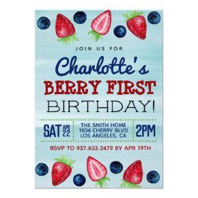 Berry First Birthday Strawberry Invitation