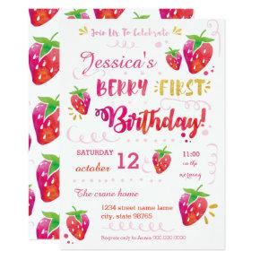 Berry First Strawberry Birthday Pary Invitations