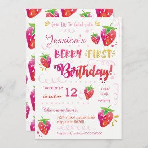 Berry First Strawberry Birthday Pary Invitation