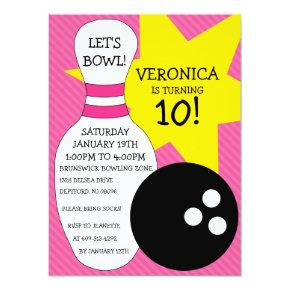 Berry Pink Bowling Bash Bowling Birthday Party Card