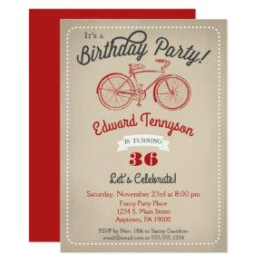 Bicycle Birthday Invitation Mens Boys Vintage Bike