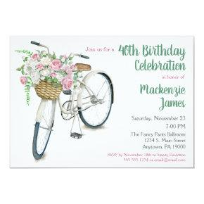 Bicycle Floral Birthday Invitation Roses