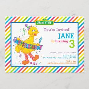 Big Bird Striped Birthday Invitation