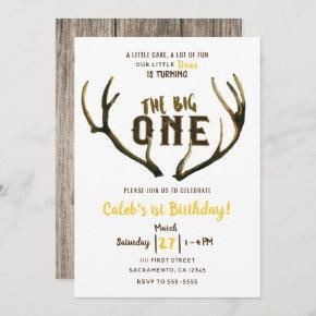 Big One Deer Antlers Rustic 1st Birthday Party Inv Invitation