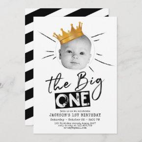 Big One First Birthday Modern Photo Black White Invitation