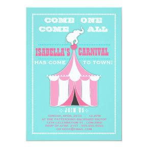 Big Top Carnival Birthday Party Turquoise | Pink Invitations
