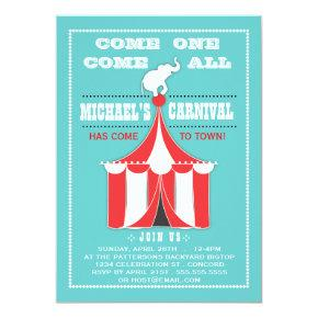 Big Top Carnival Birthday Party Turquoise | Red Invitations
