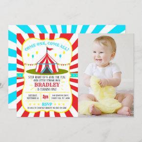 Big Top Circus Carnival 1st Birthday Photo Invitation