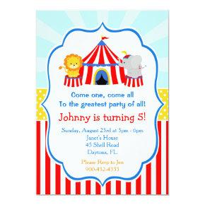 Big Top Circus Carnival Birthday in Red Invitations