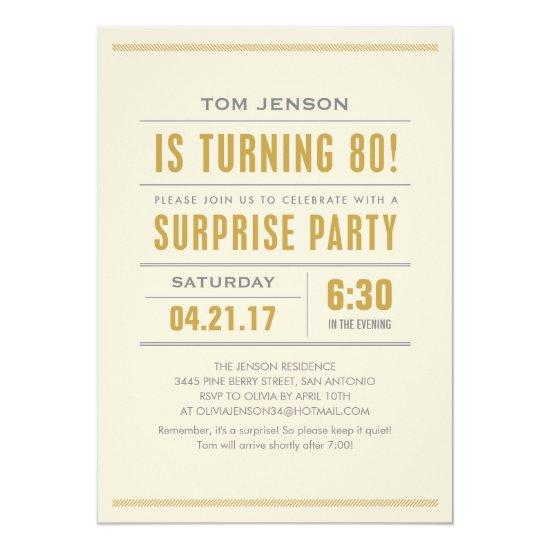 Big Type 80th Surprise Birthday Party Invitations
