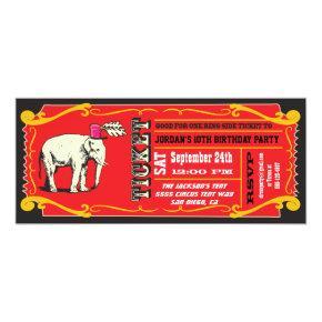 BIG Vintage Circus Ticket Birthday Party Invitation