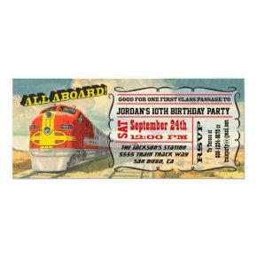 BIG Vintage Train Ticket Birthday Party Card