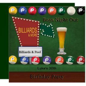 Billiards Pool Mans Birthday Party Night Beer Invitation