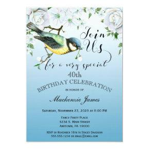 Bird Nature Birthday Party Invitation Blue Floral