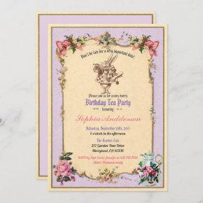 Birthday afternoon tea party invitation purple
