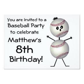 Birthday Baseball Party Invitations