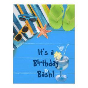 Birthday Bash Pool Party Invitations