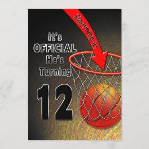 BIRTHDAY - BASKETBALL - 12TH INVITATION