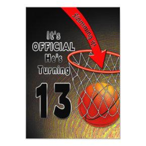 BIRTHDAY - BASKETBALL - 13TH Invitations