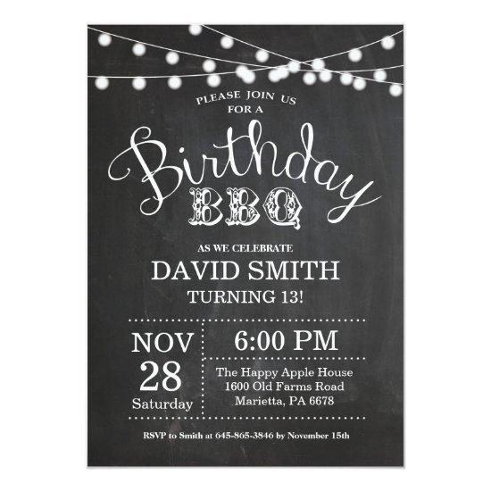 birthday bbq invitations 13th birthday chalkboard candied clouds