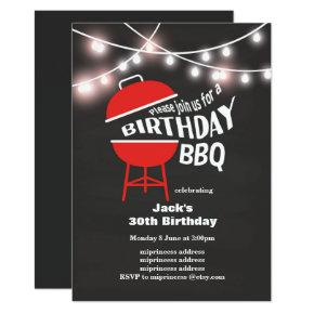 Birthday BBQ Invitations, chalkboard background Invitations
