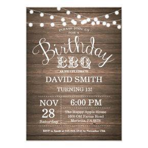 Birthday BBQ Invitations Rustic 13th Birthday