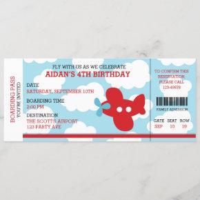 Birthday Boarding Pass Ticket (Red Blue) Airplane Invitation